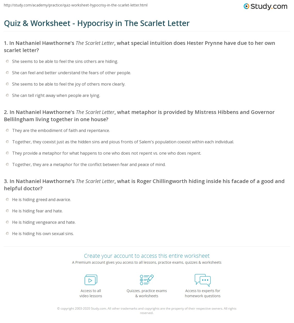 hypocrisy in the scarlet letter informatin for letter quiz worksheet hypocrisy in the scarlet letter study com