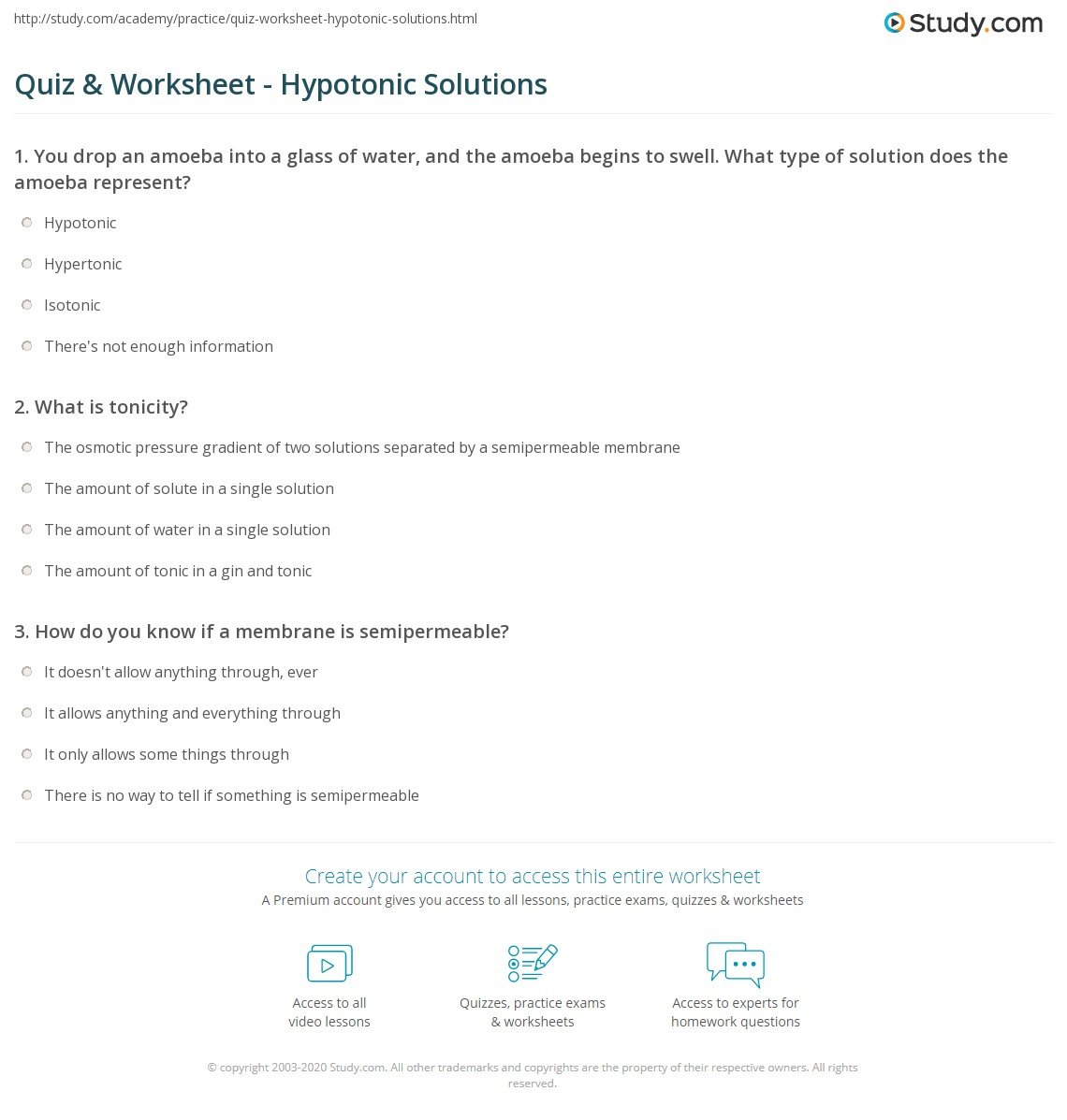 Quiz Worksheet Hypotonic Solutions – Tonicity Worksheet