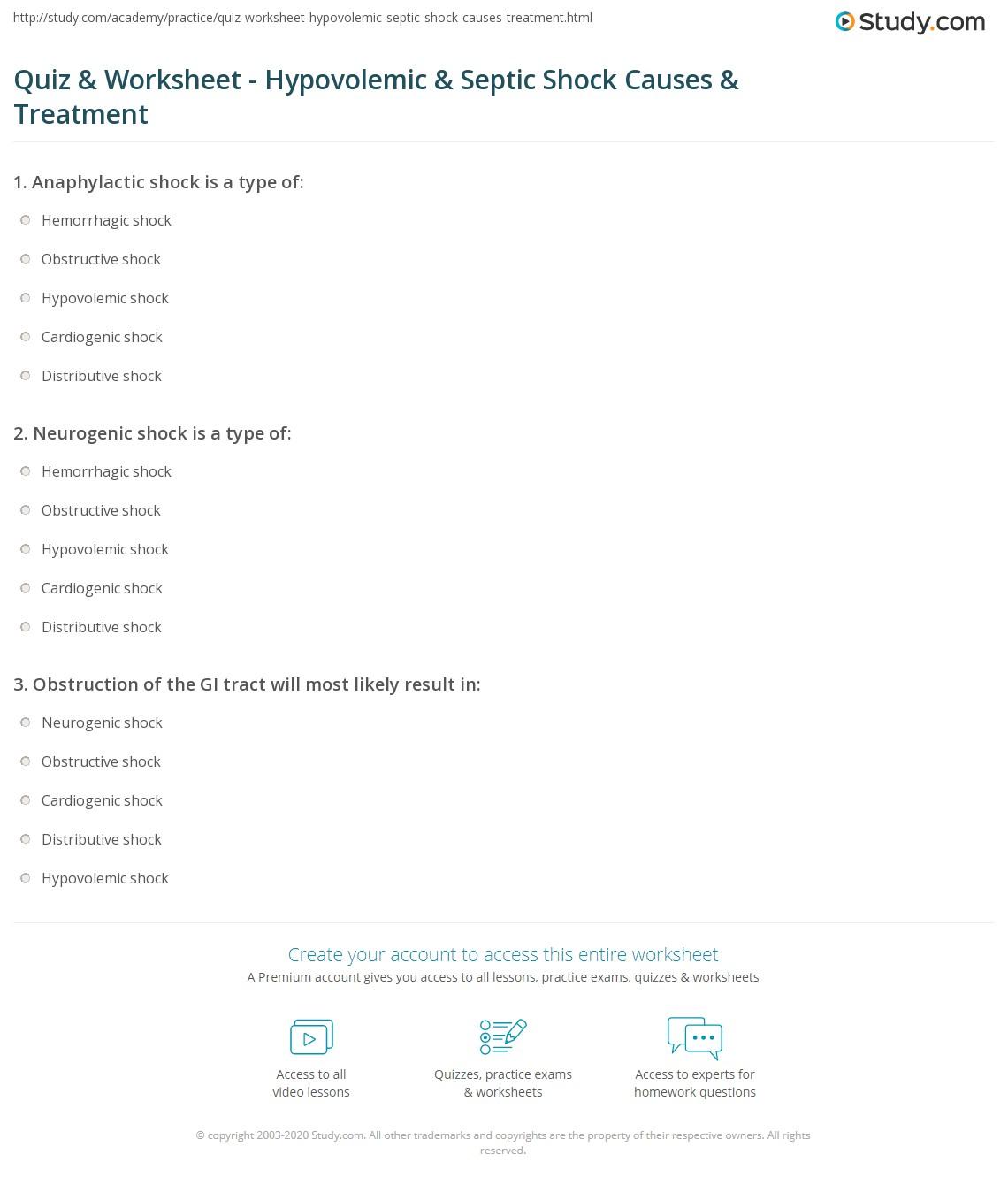 Quiz worksheet hypovolemic septic shock causes treatment print hypovolemic septic shock causes treatment worksheet 1betcityfo Gallery
