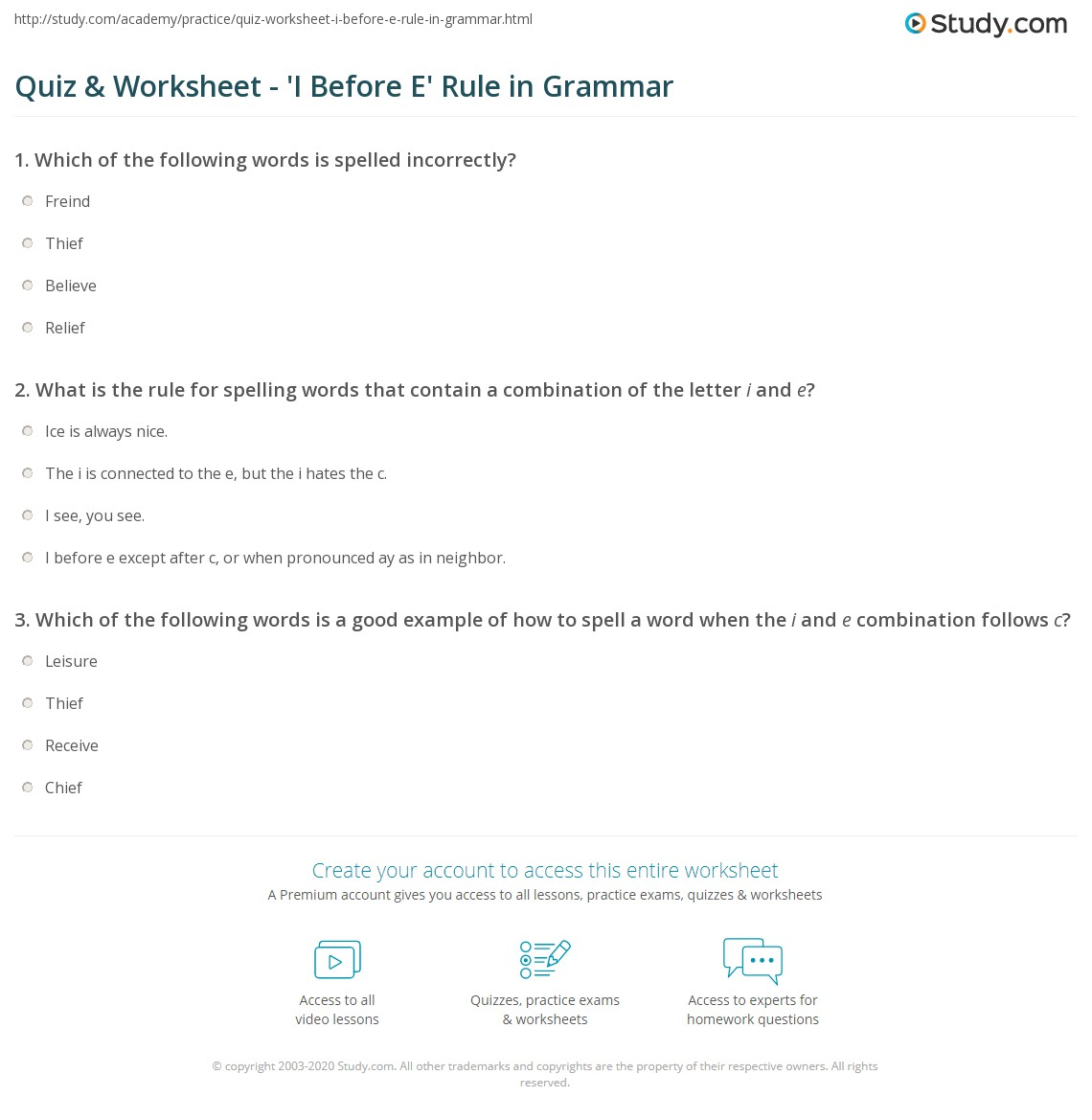 Quiz worksheet i before e rule in grammar study print the i before e except after c rule worksheet sciox Image collections