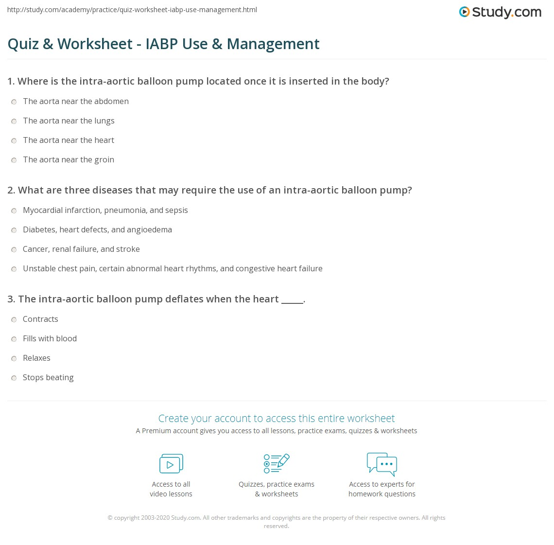 Quiz Worksheet Iabp Use Management Study Com