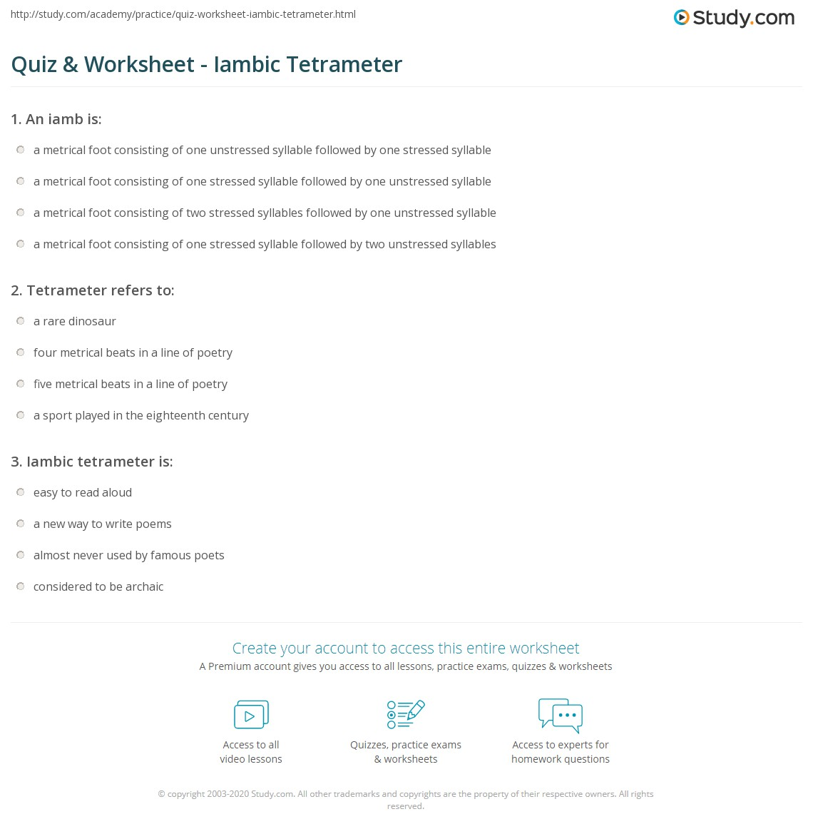 Quiz Worksheet Iambic Tetrameter Study