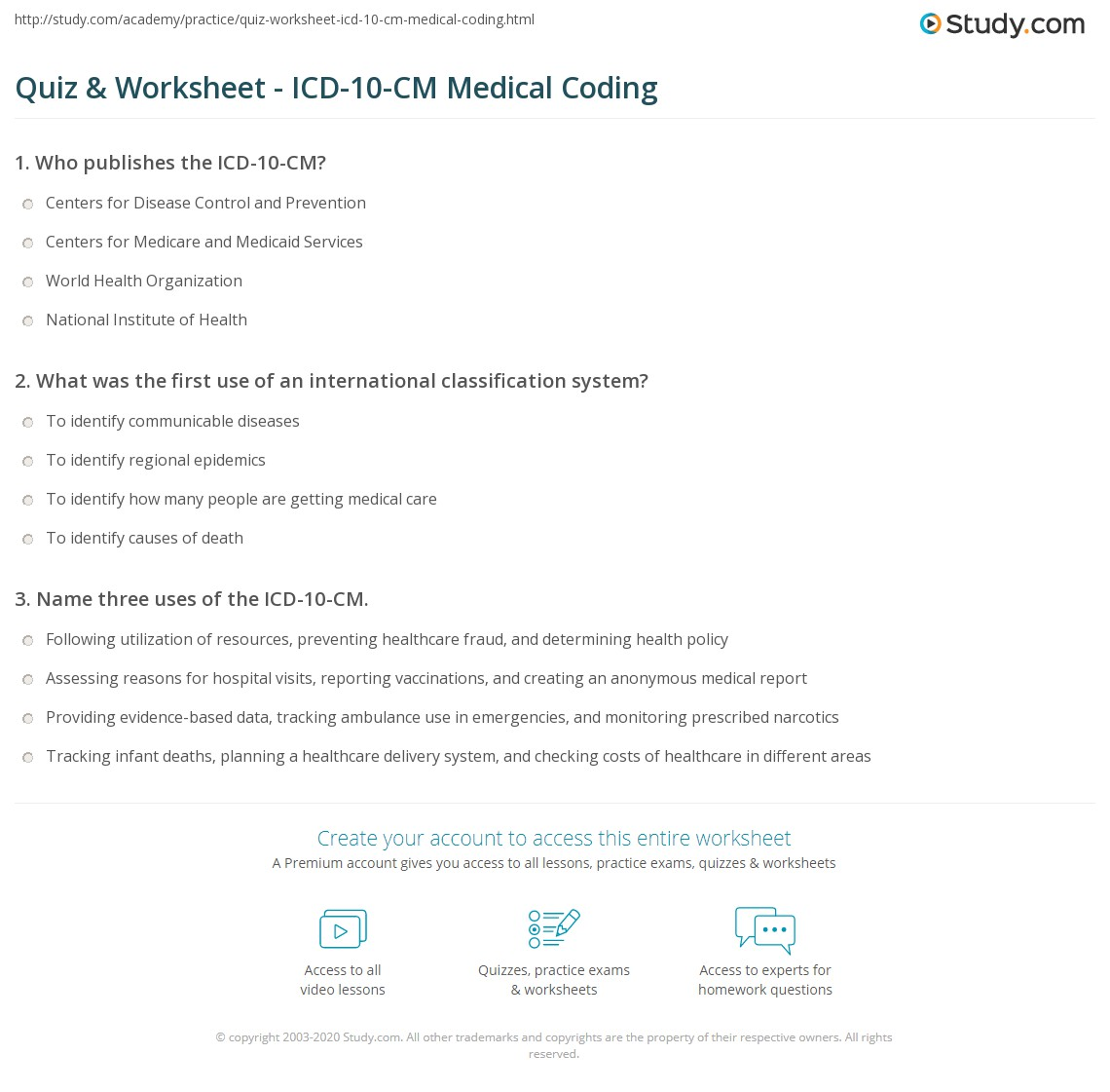 Worksheets Medical Coding Practice Worksheets quiz worksheet icd 10 cm medical coding study com print what is the system basics uses worksheet