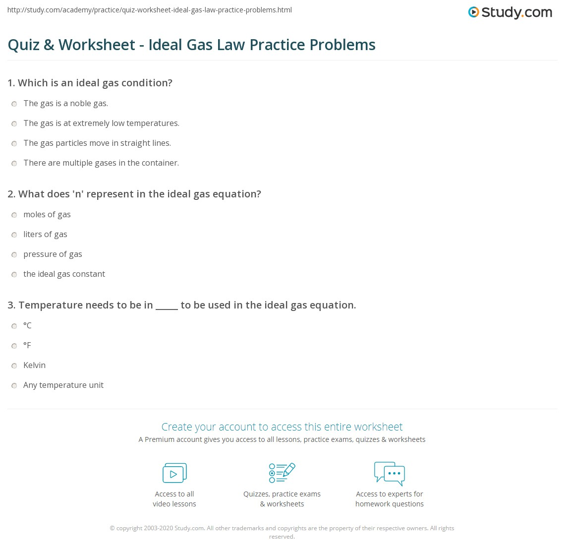 Quiz & Worksheet - Ideal Gas Law Practice Problems | Study.com