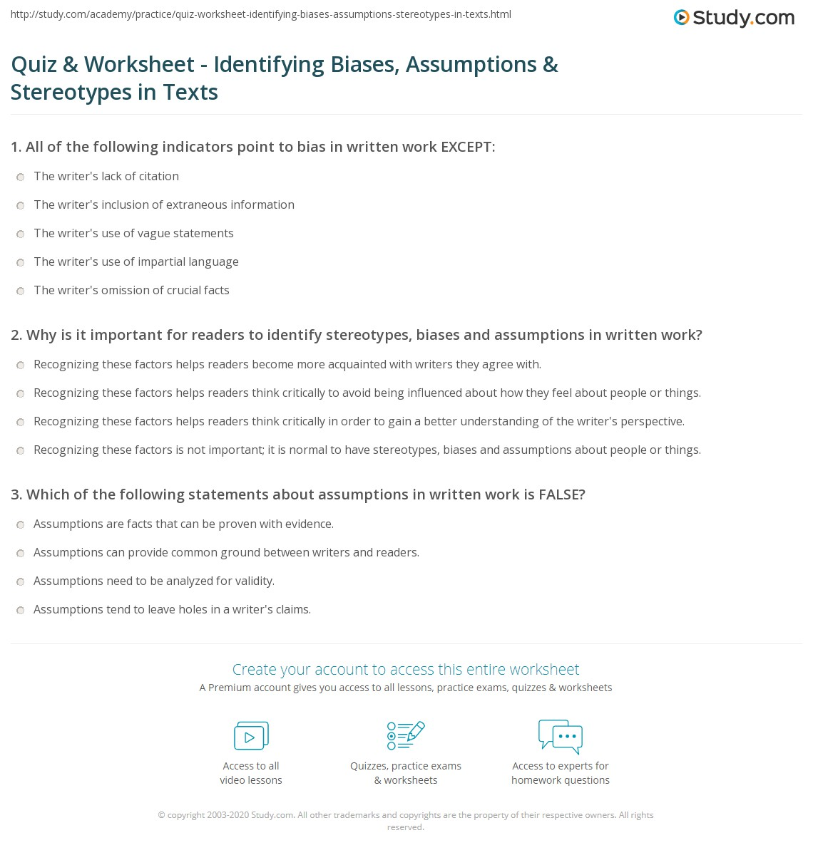 Quiz & Worksheet - Identifying Biases, Assumptions & Stereotypes in ...