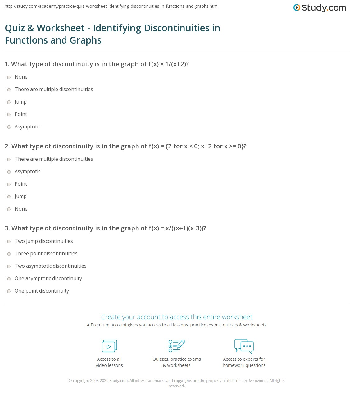 quiz worksheet identifying discontinuities in functions and graphs. Black Bedroom Furniture Sets. Home Design Ideas