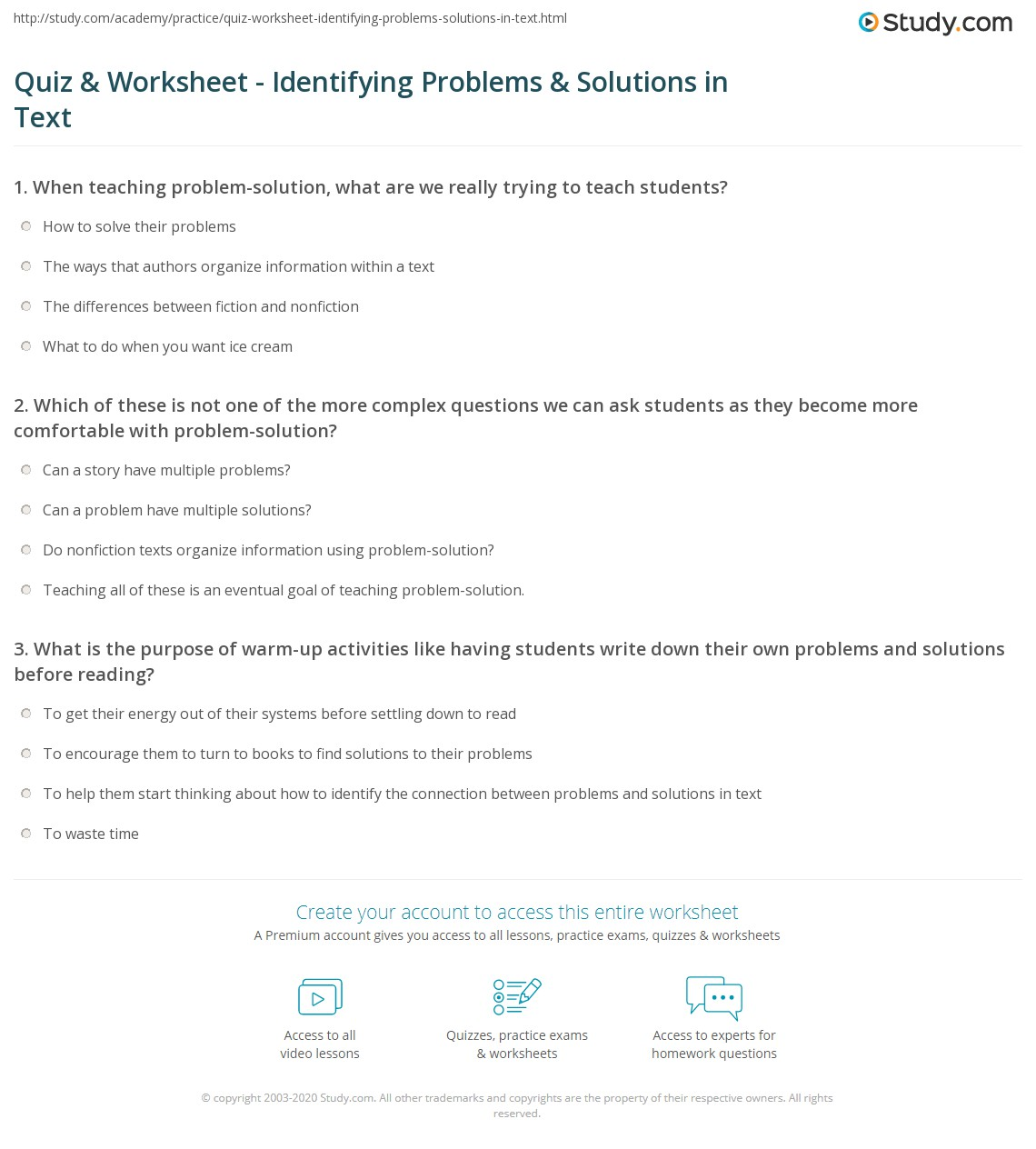 Print Determining The Problem And Solution Of Text Read Aloud Worksheet