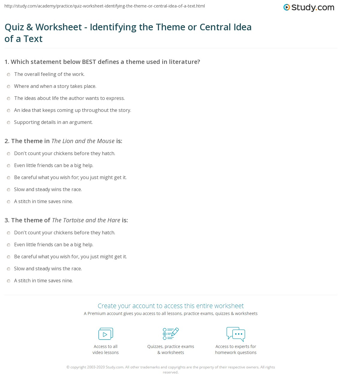 worksheet Identifying Theme Worksheet Answers quiz worksheet identifying the theme or central idea of a text print how to find worksheet