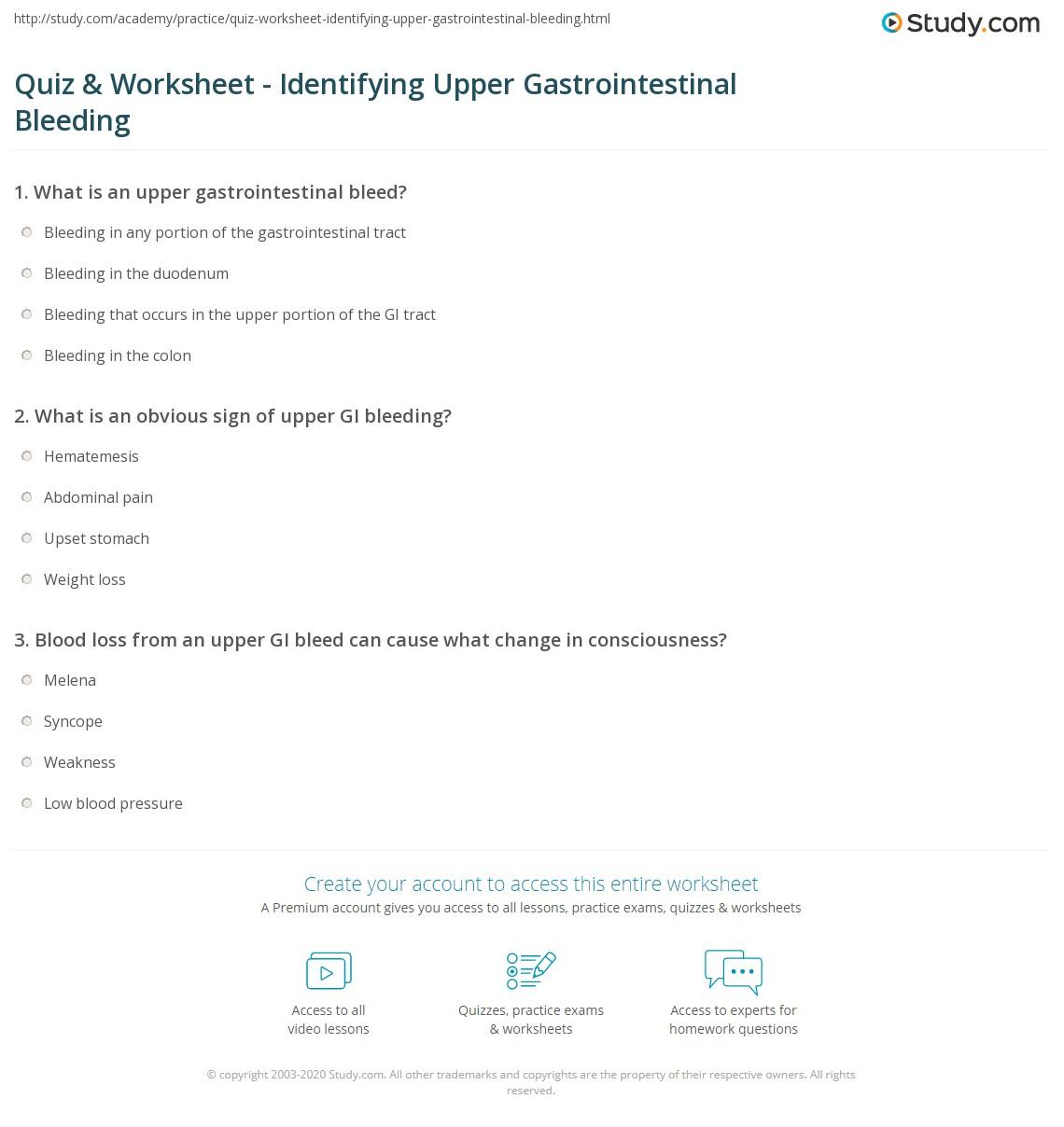 Quiz & Worksheet - Identifying Upper Gastrointestinal Bleeding