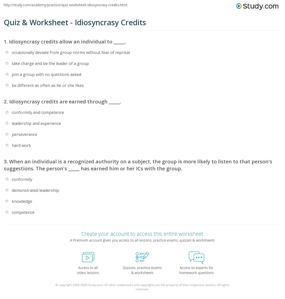 Idiosyncratic Examples: Quiz & Worksheet - Idiosyncrasy Credits