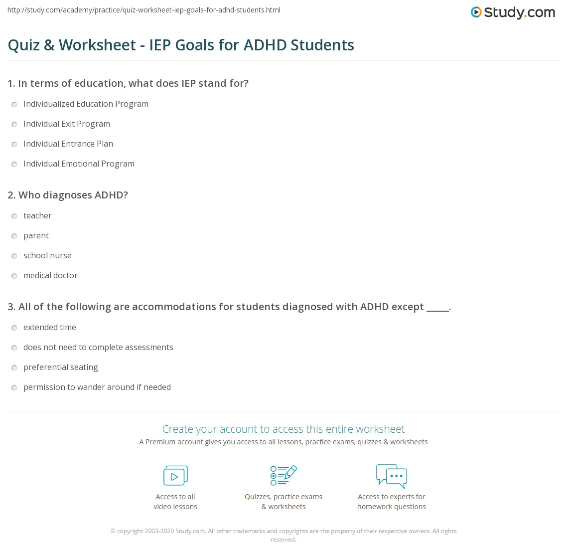 Quiz amp worksheet iep goals for adhd students study com