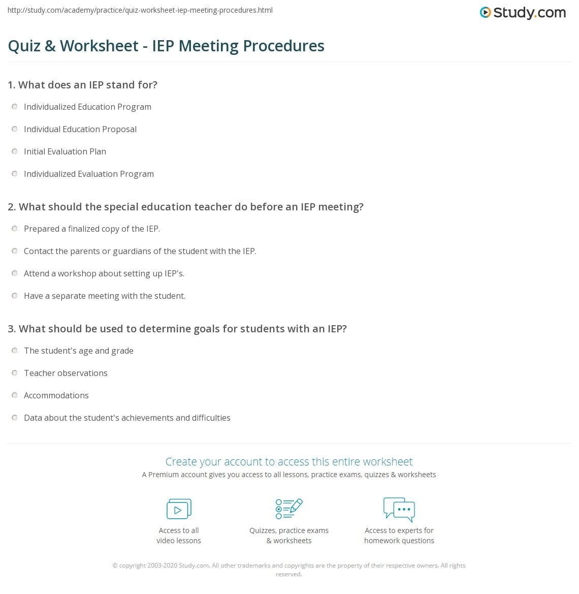 Quiz worksheet iep meeting procedures study print iep meeting procedures worksheet maxwellsz
