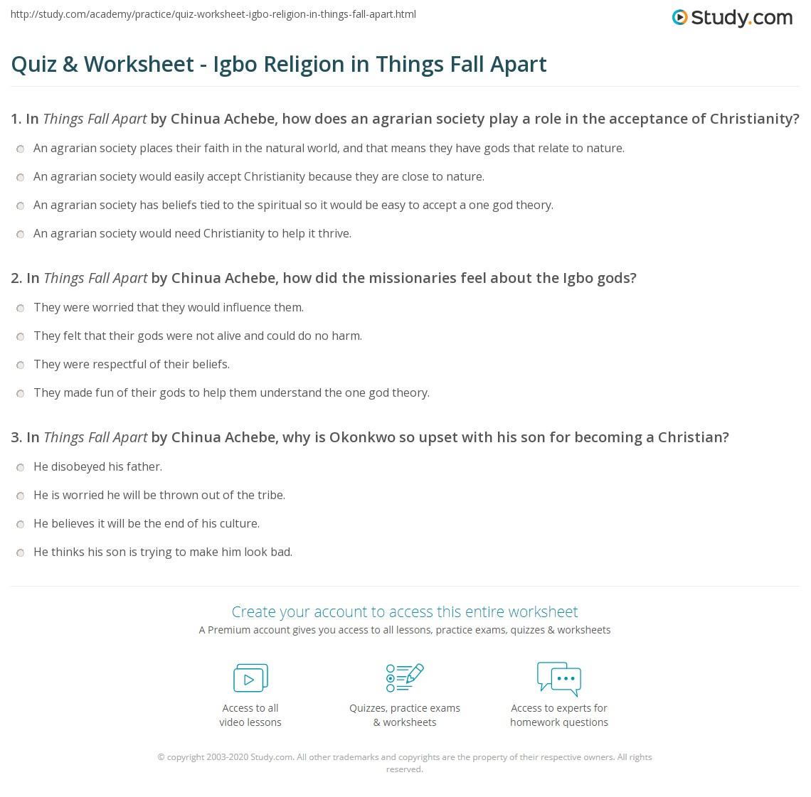 Quiz Worksheet Igbo Religion In Things Fall Apart Studycom