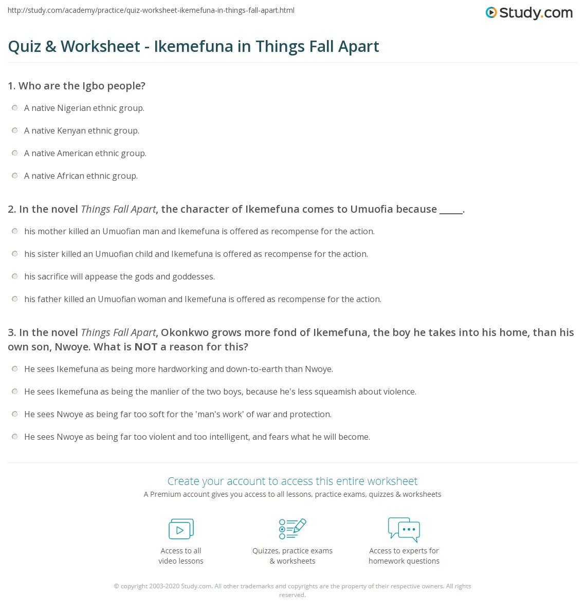 Quiz & Worksheet - Ikemefuna In Things Fall Apart