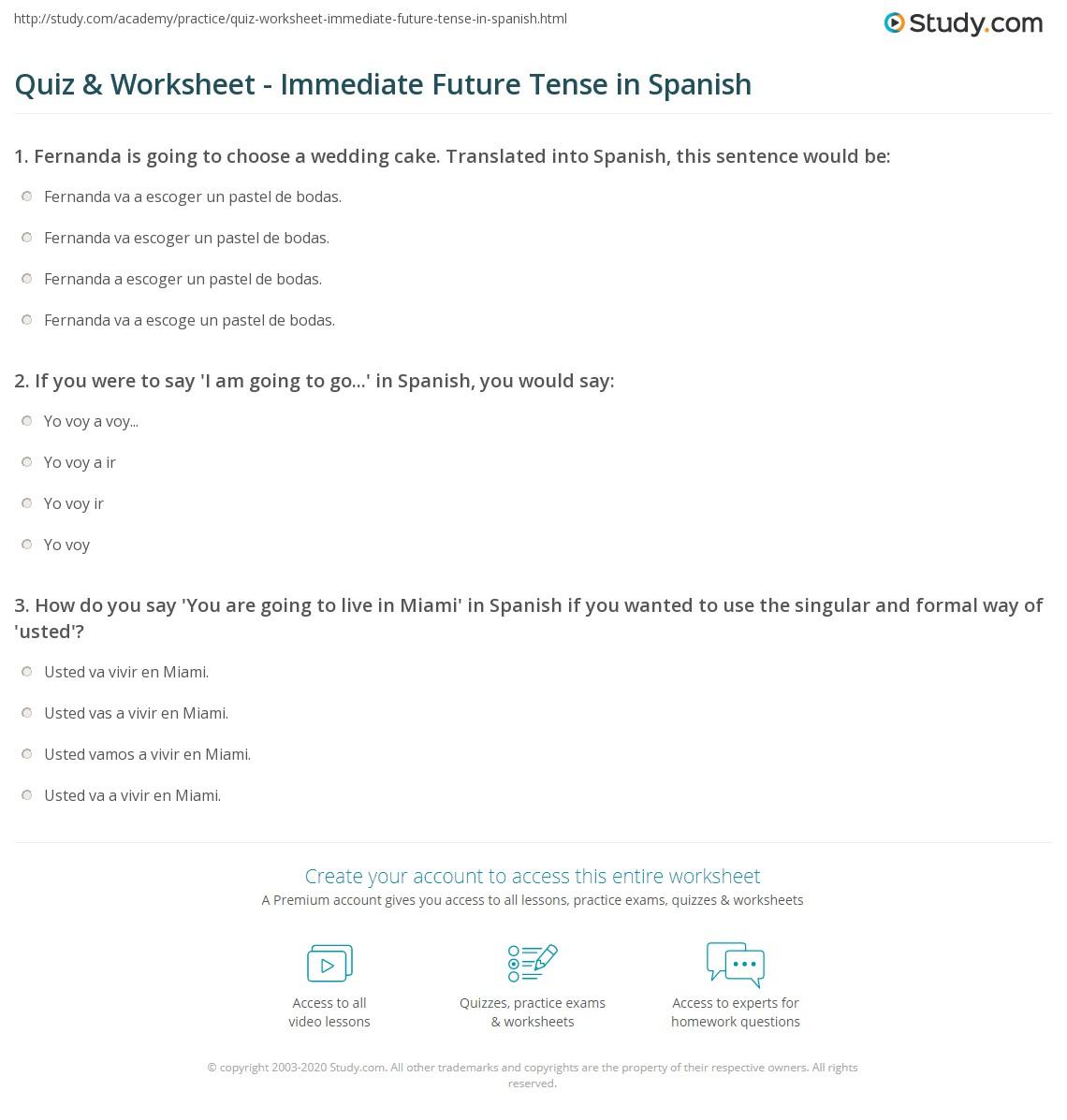 Uncategorized Present Progressive Spanish Worksheet quiz worksheet immediate future tense in spanish study com print worksheet