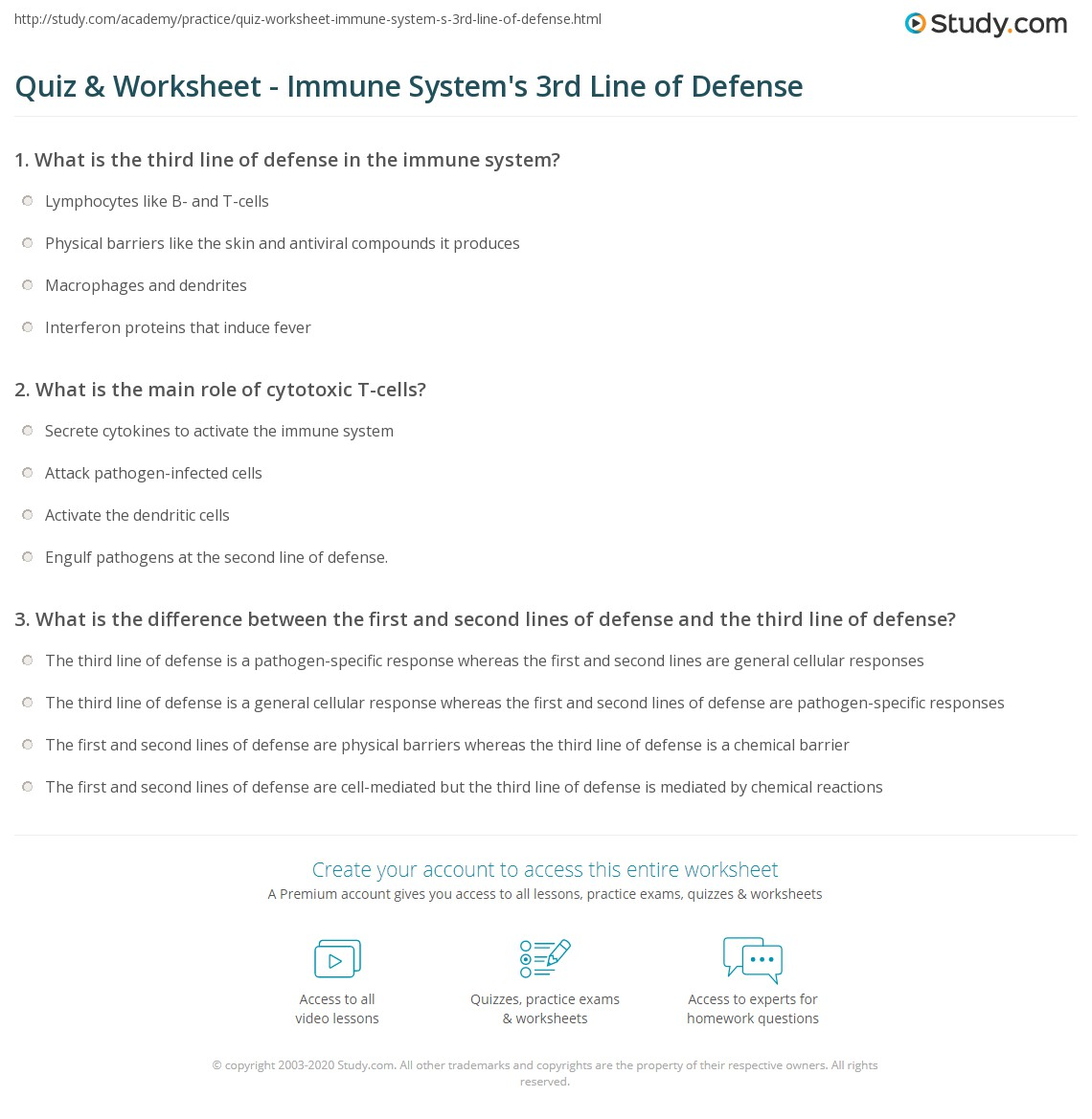 Quiz Worksheet Immune System S 3rd Line Of Defense Study Com