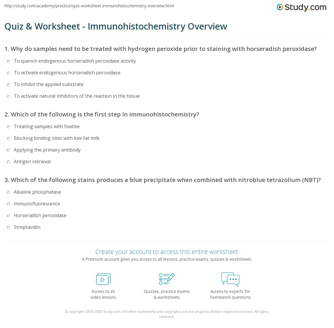 Quiz & Worksheet - Immunohistochemistry Overview   Study com