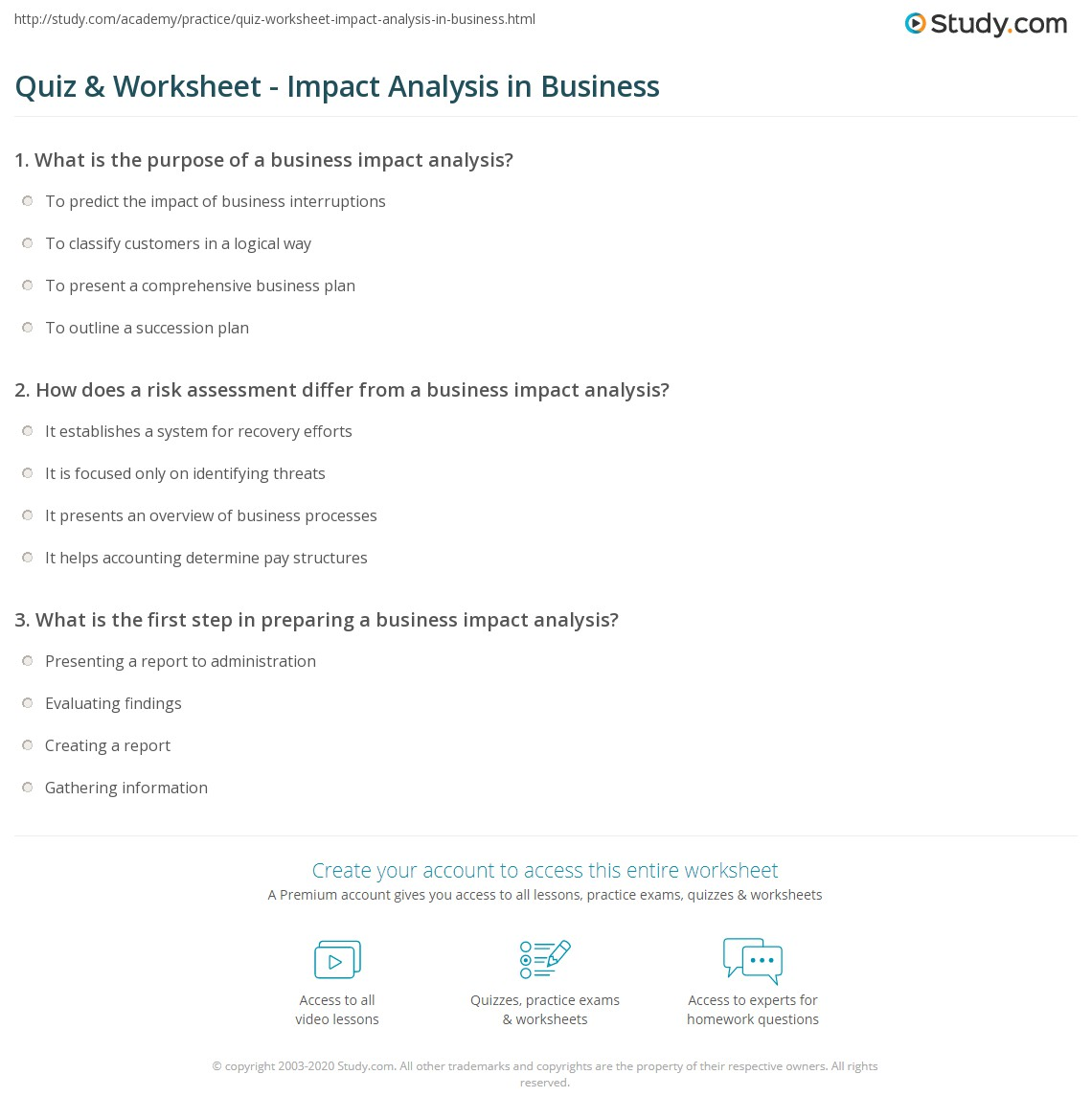 Quiz & Worksheet - Impact Analysis in Business | Study.com