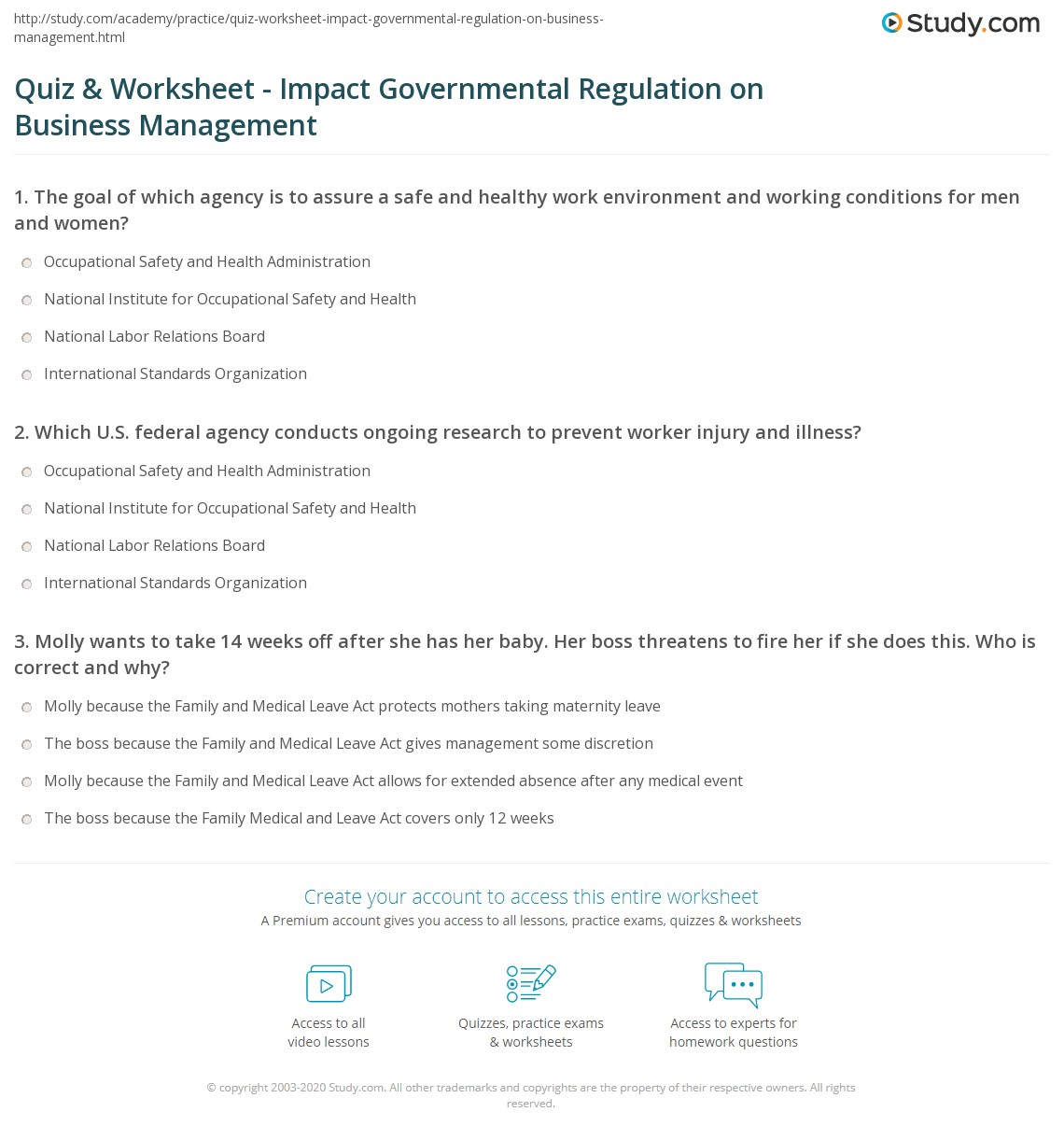 Quiz & Worksheet Impact Governmental Regulation on Business