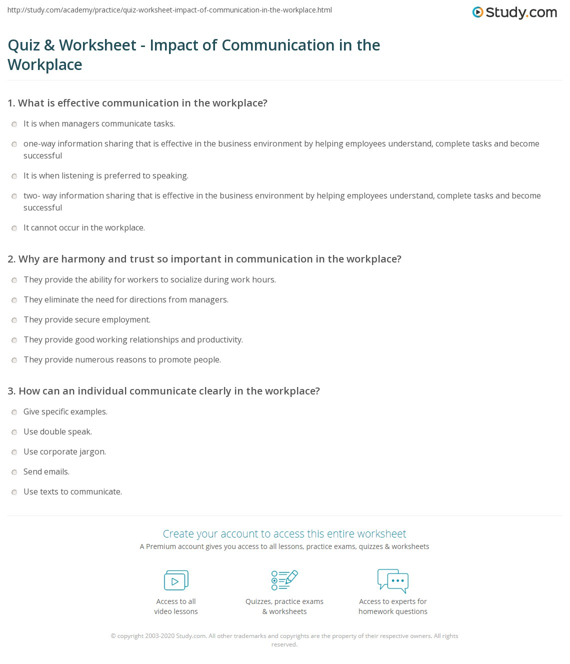 quiz worksheet impact of communication in the workplace  print why communication matters in the workplace worksheet