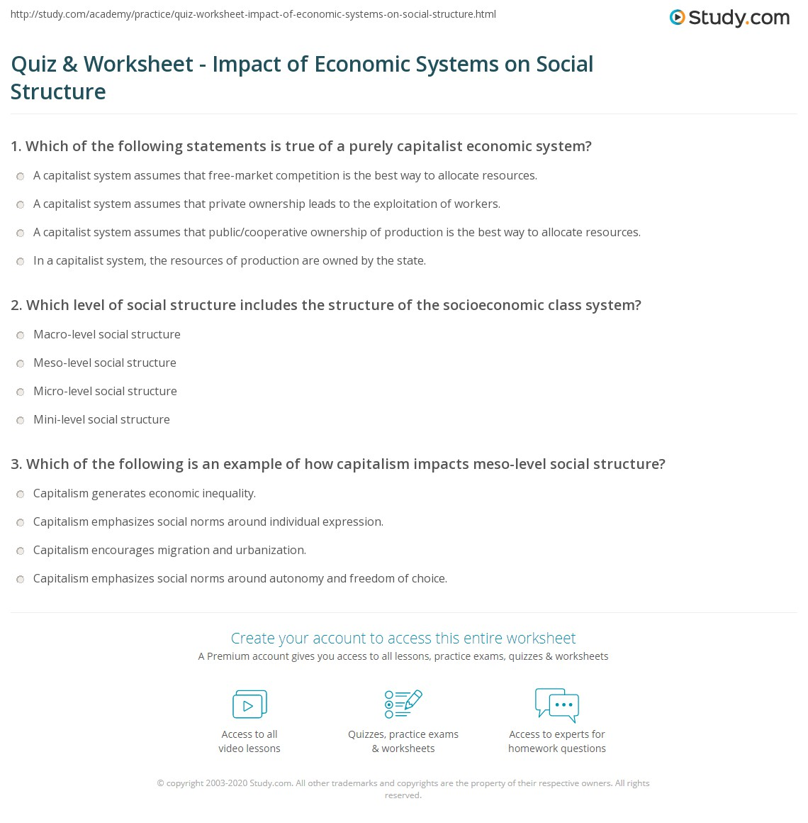 Quiz Worksheet Impact Of Economic Systems On Social