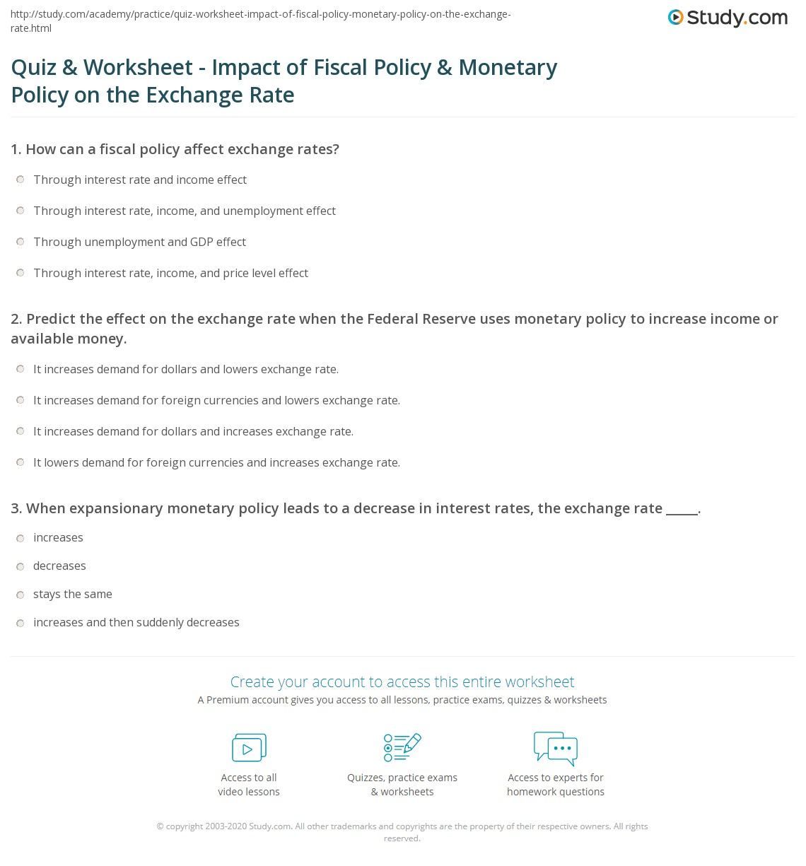 Print How Fiscal And Monetary Policies Affect The Exchange Rate Worksheet