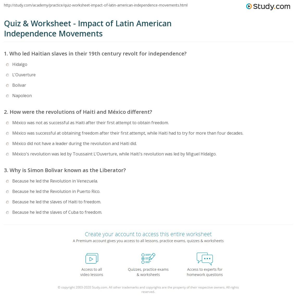 Quiz & Worksheet - Impact of Latin American Independence ...