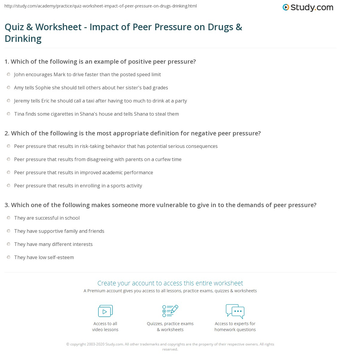 quiz & worksheet - impact of peer pressure on drugs & drinking