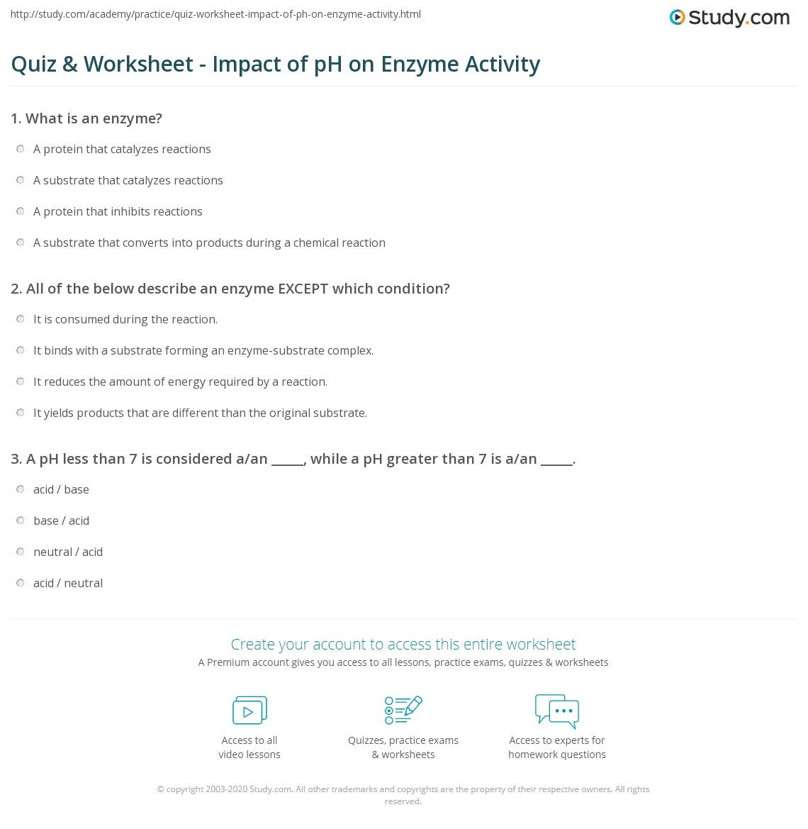 Quiz Worksheet Impact Of Ph On Enzyme Activity Study Com