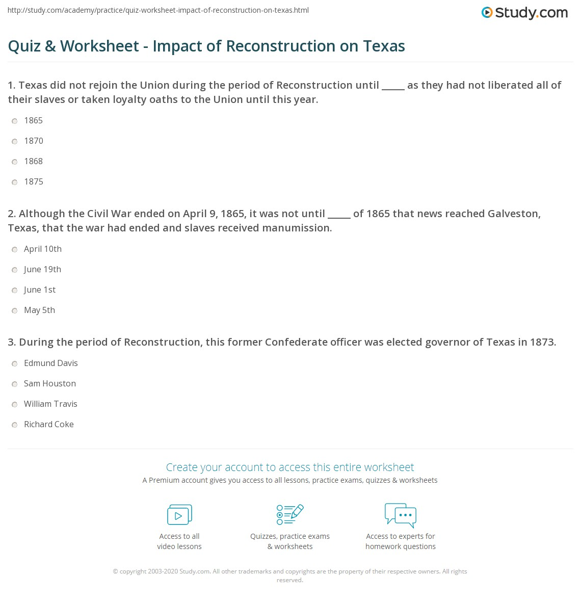 Quiz & Worksheet - Impact of Reconstruction on Texas | Study.com