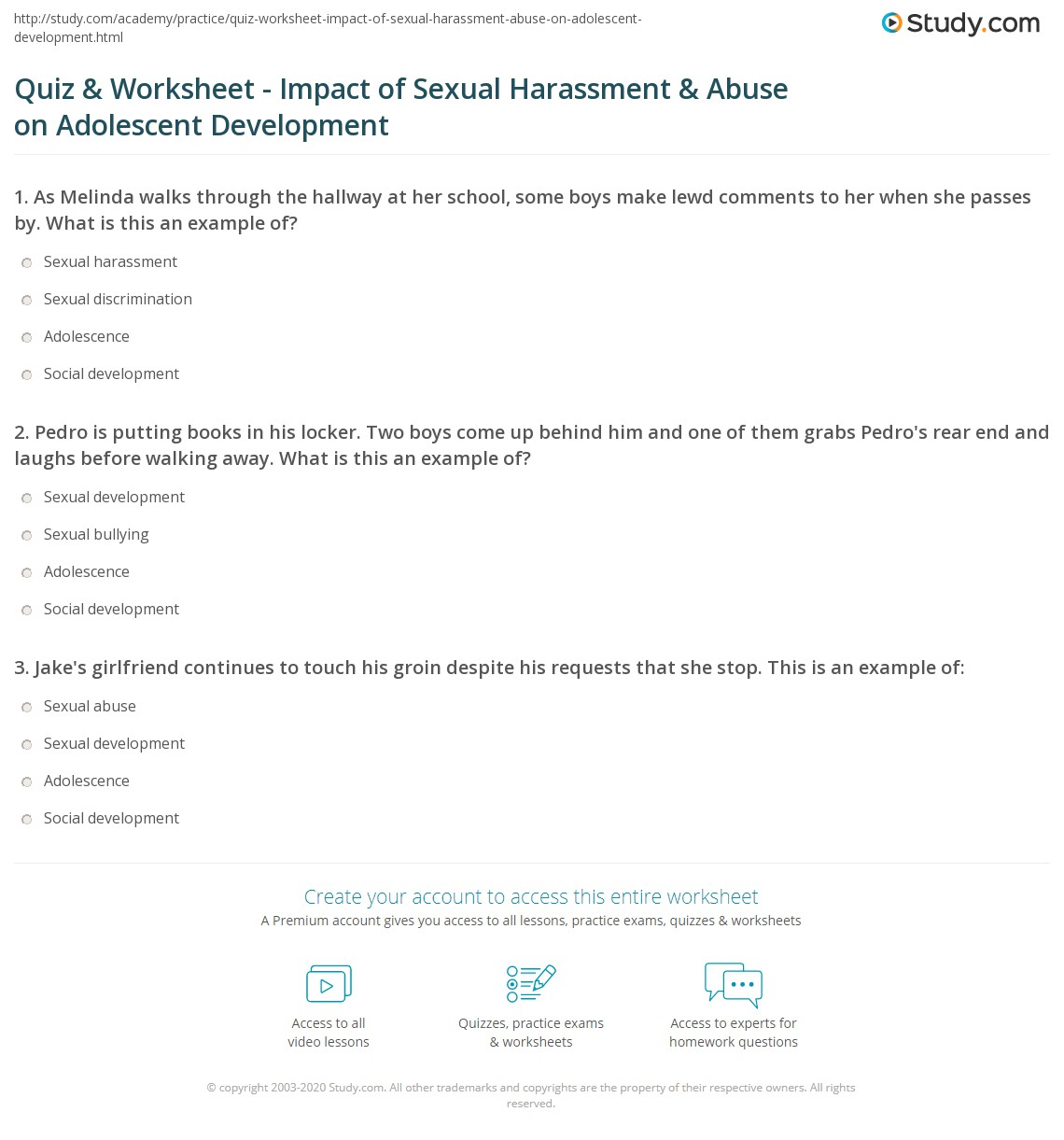 Quiz  Worksheet  Impact Of Sexual Harassment  Abuse On Adolescent  Print Influences Of Sexual Harassment And Abuse On Adolescent Development  Worksheet