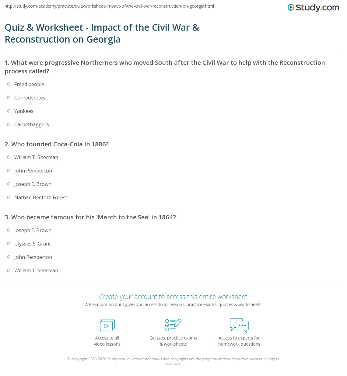 Quiz Worksheet Impact Of The Civil War Reconstruction On