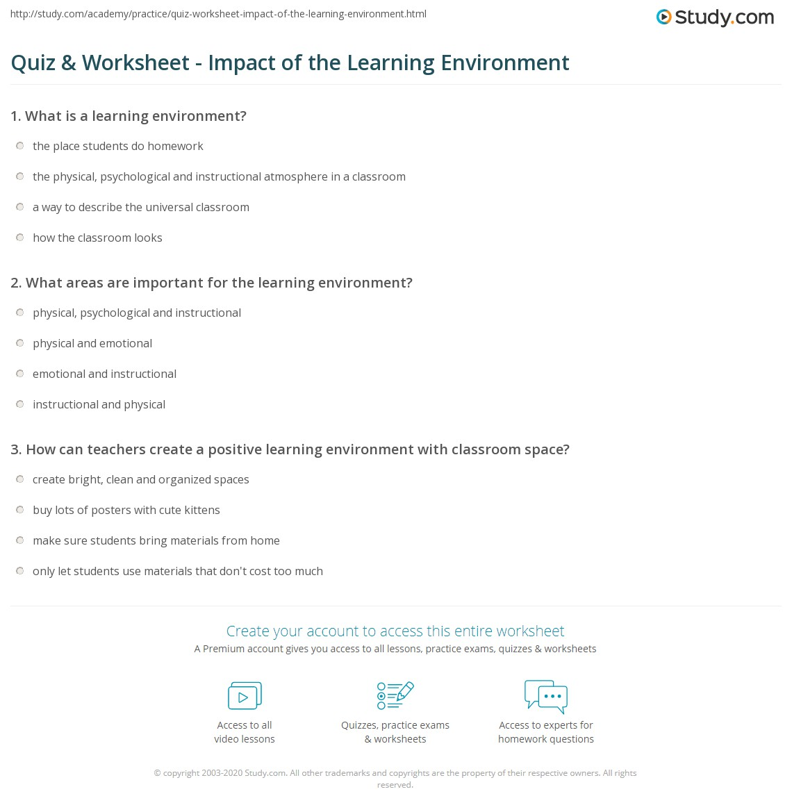 Quiz & Worksheet - Impact of the Learning Environment | Study com