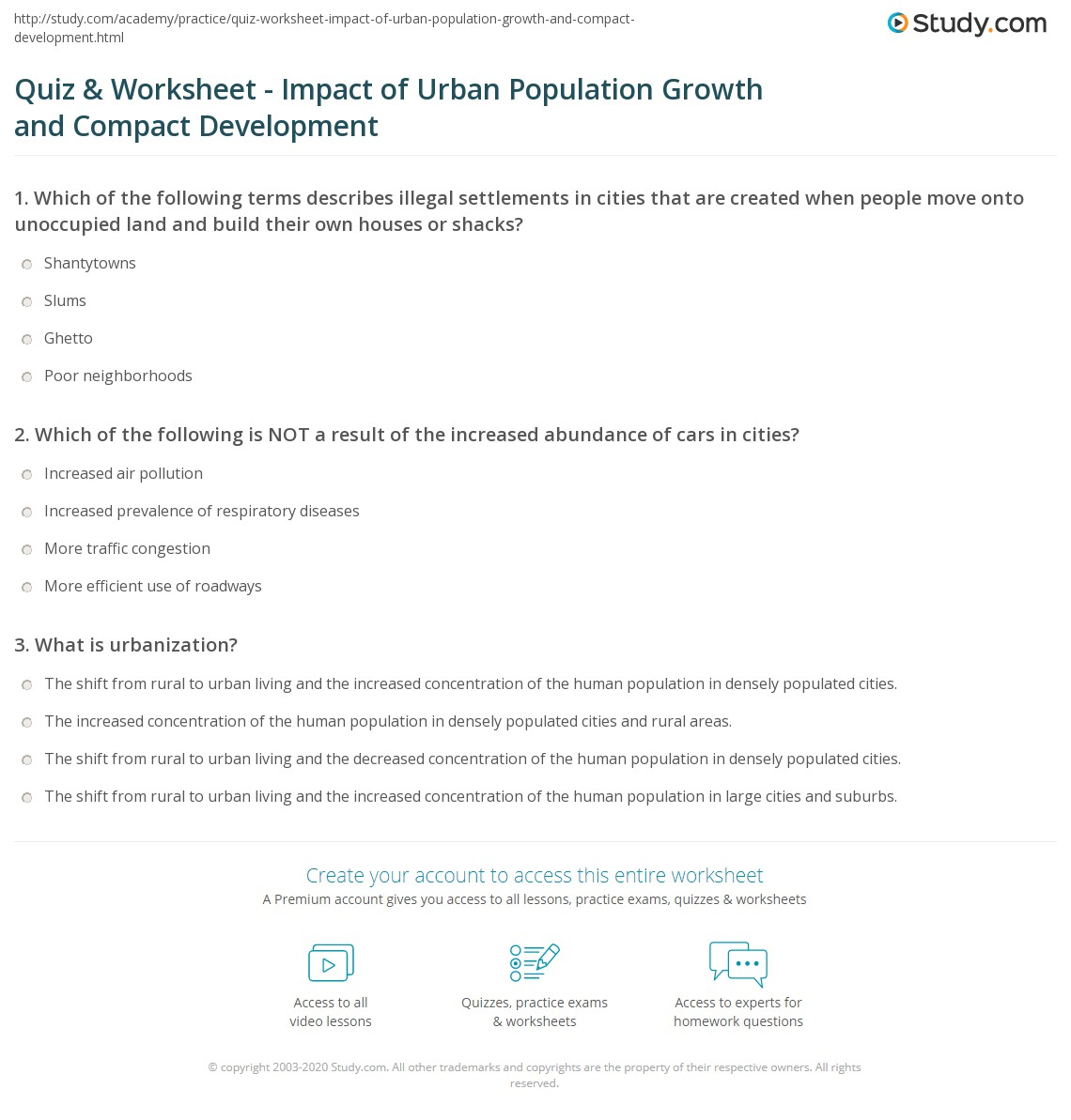 quiz worksheet impact of urban population growth and compact development. Black Bedroom Furniture Sets. Home Design Ideas