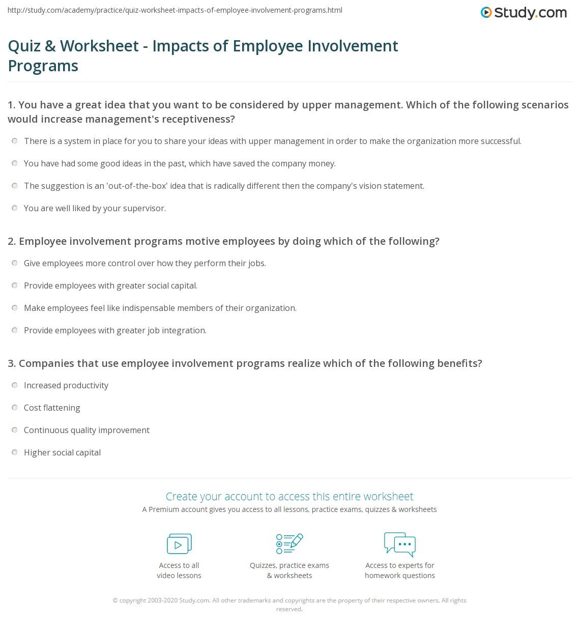 Impacts Of Employee Involvement