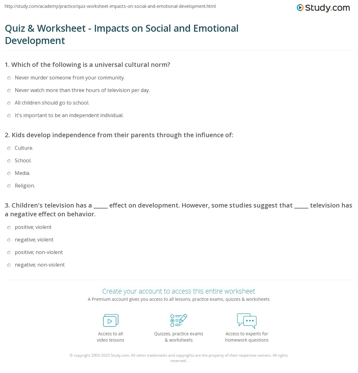 quiz worksheet impacts on social and emotional development  print the role of culture school and media in social and emotional development worksheet