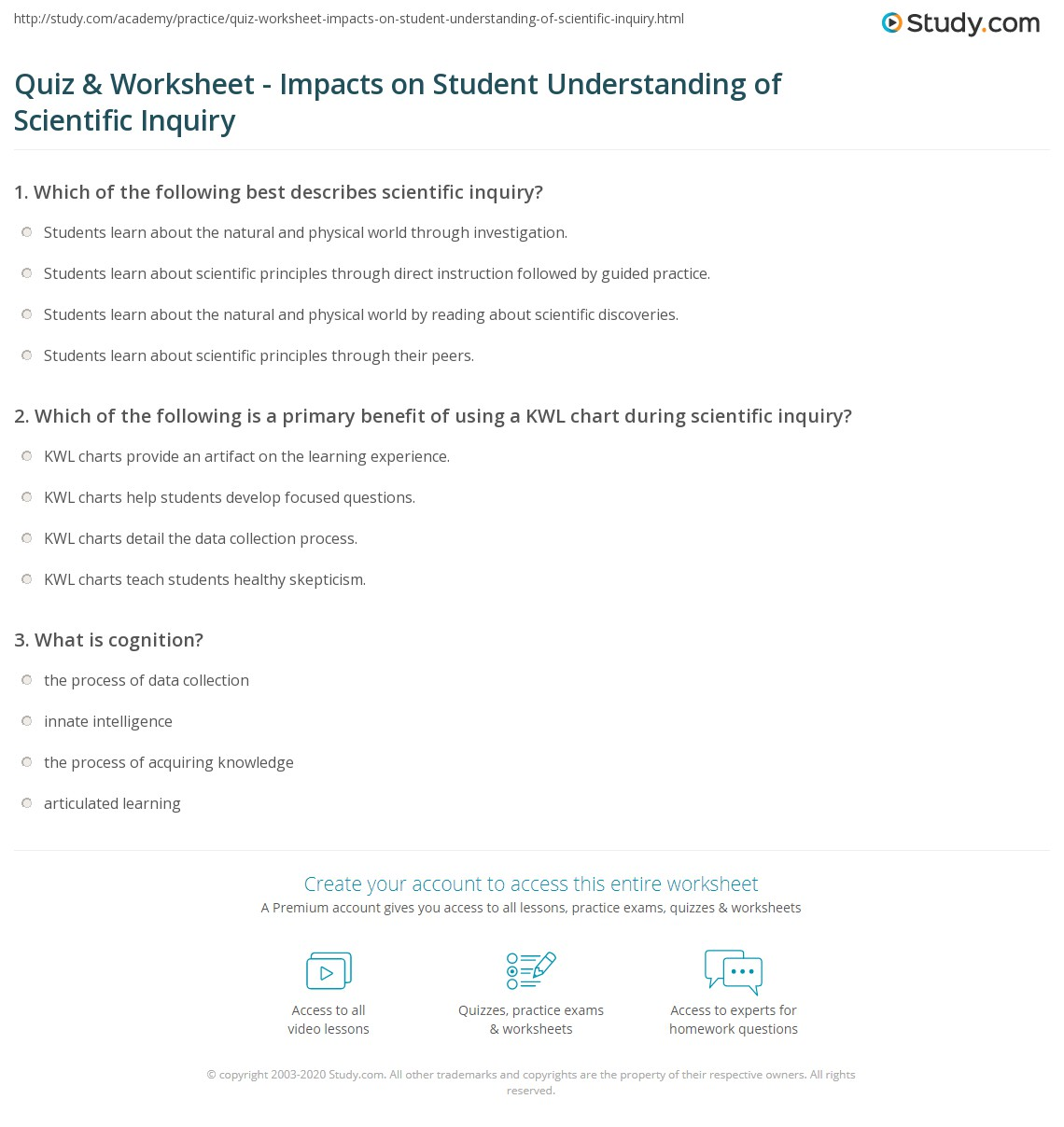 Worksheets Scientific Inquiry Worksheets quiz worksheet impacts on student understanding of scientific print influences how students understand inquiry worksheet