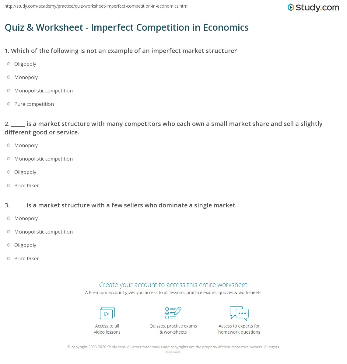 Quiz Worksheet Imperfect Competition In Economics Study Com