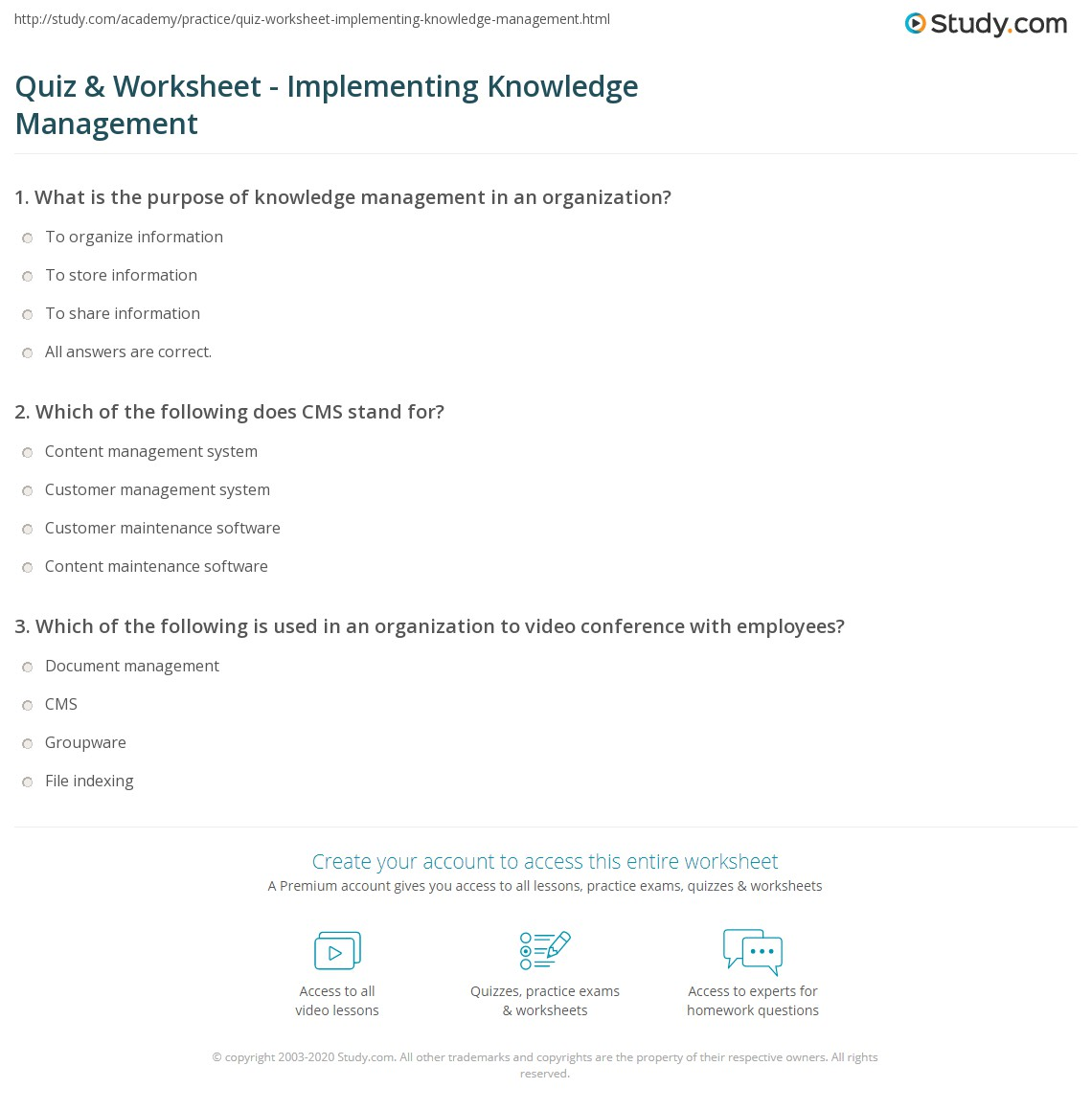 Quiz & Worksheet - Implementing Knowledge Management | Study com