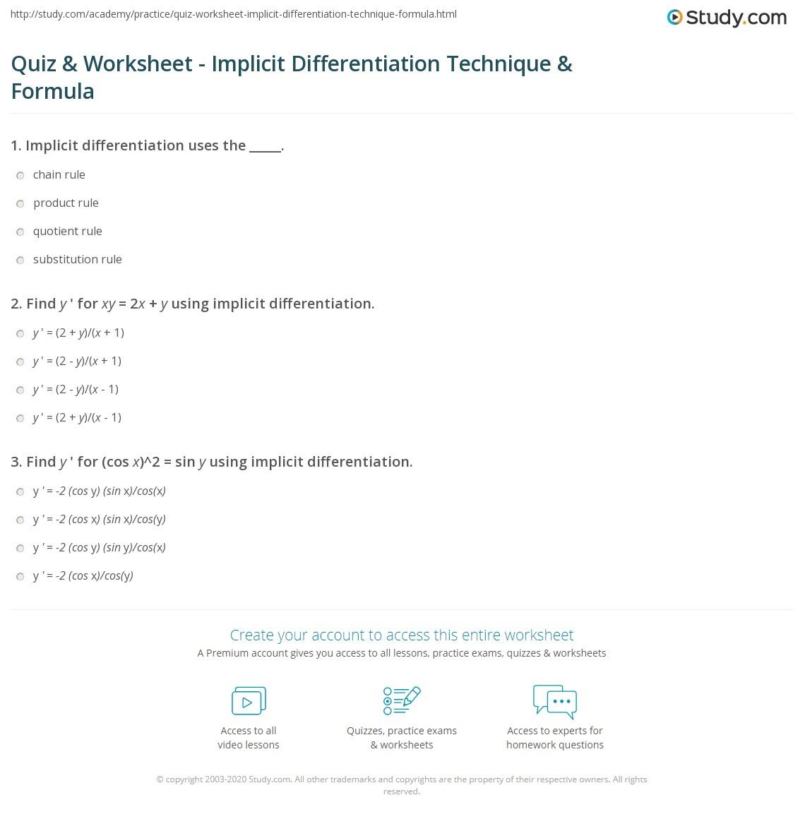 Worksheets Implicit Differentiation Worksheet quiz worksheet implicit differentiation technique formula print examples worksheet