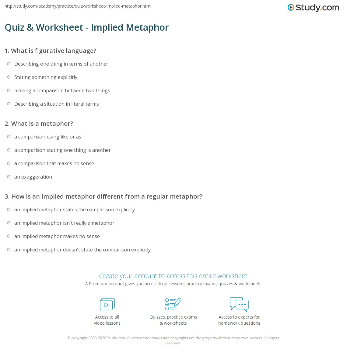 Quiz & Worksheet - Implied Metaphor | Study.com