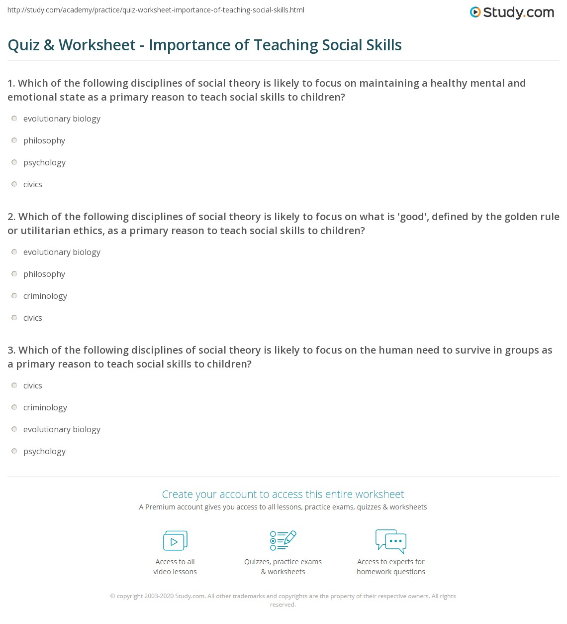 Worksheets Social Skills Worksheets For Adults quiz worksheet importance of teaching social skills study com which the following disciplines theory is likely to focus on what good defined by golden rule or utilitarian