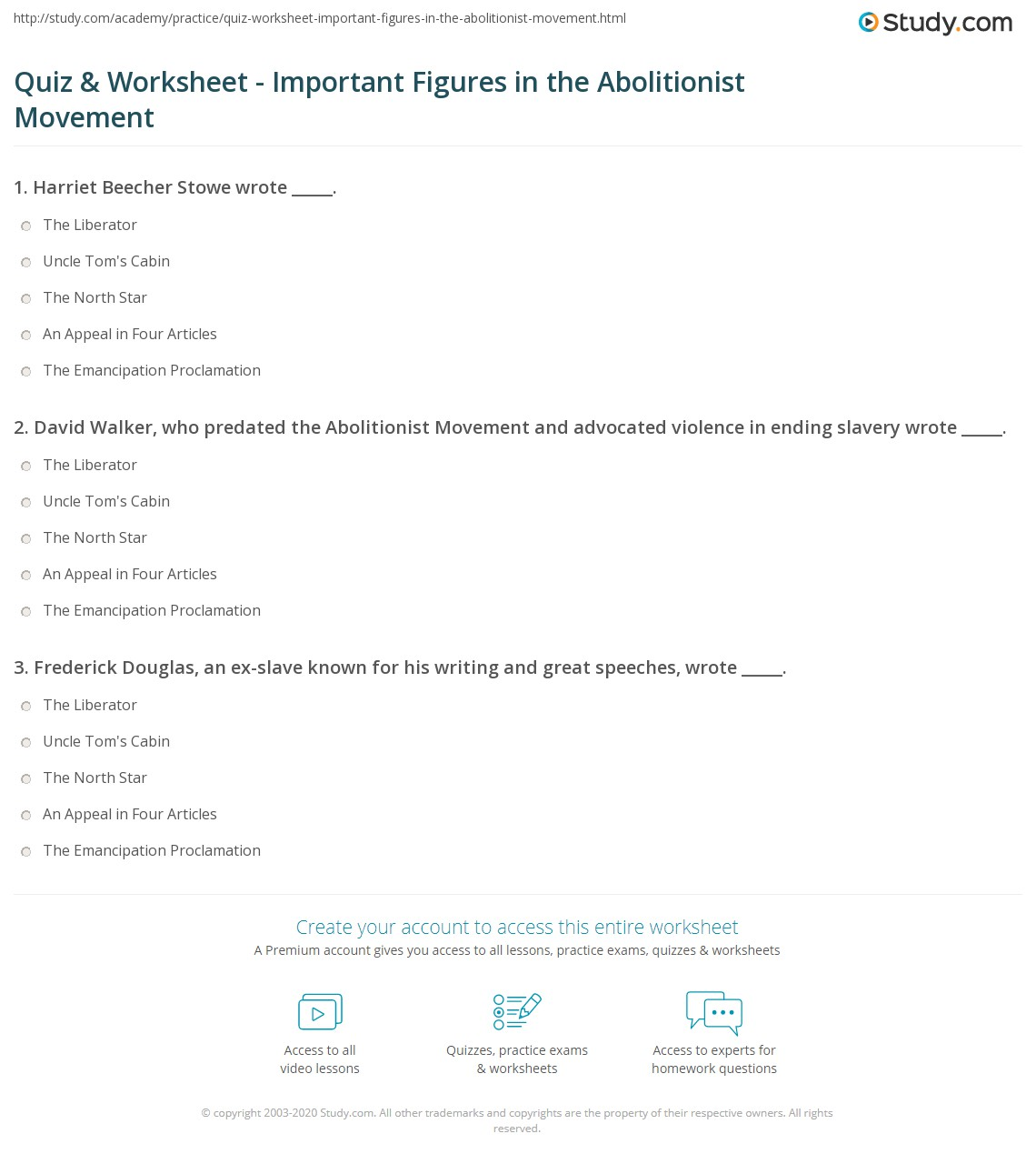 Quiz Worksheet Important Figures In The Abolitionist Movement Study Com