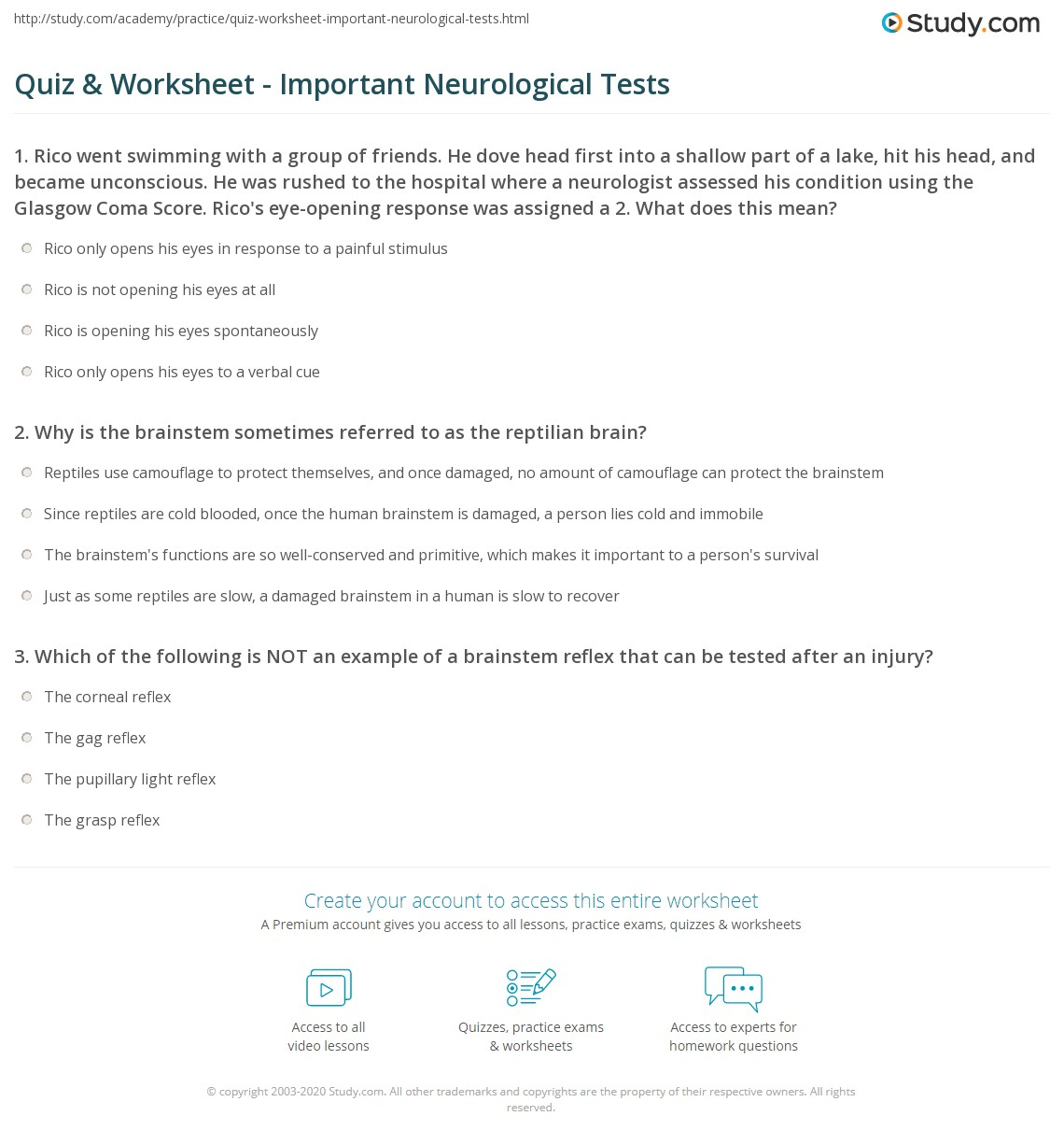 Quiz & Worksheet - Important Neurological Tests | Study.com