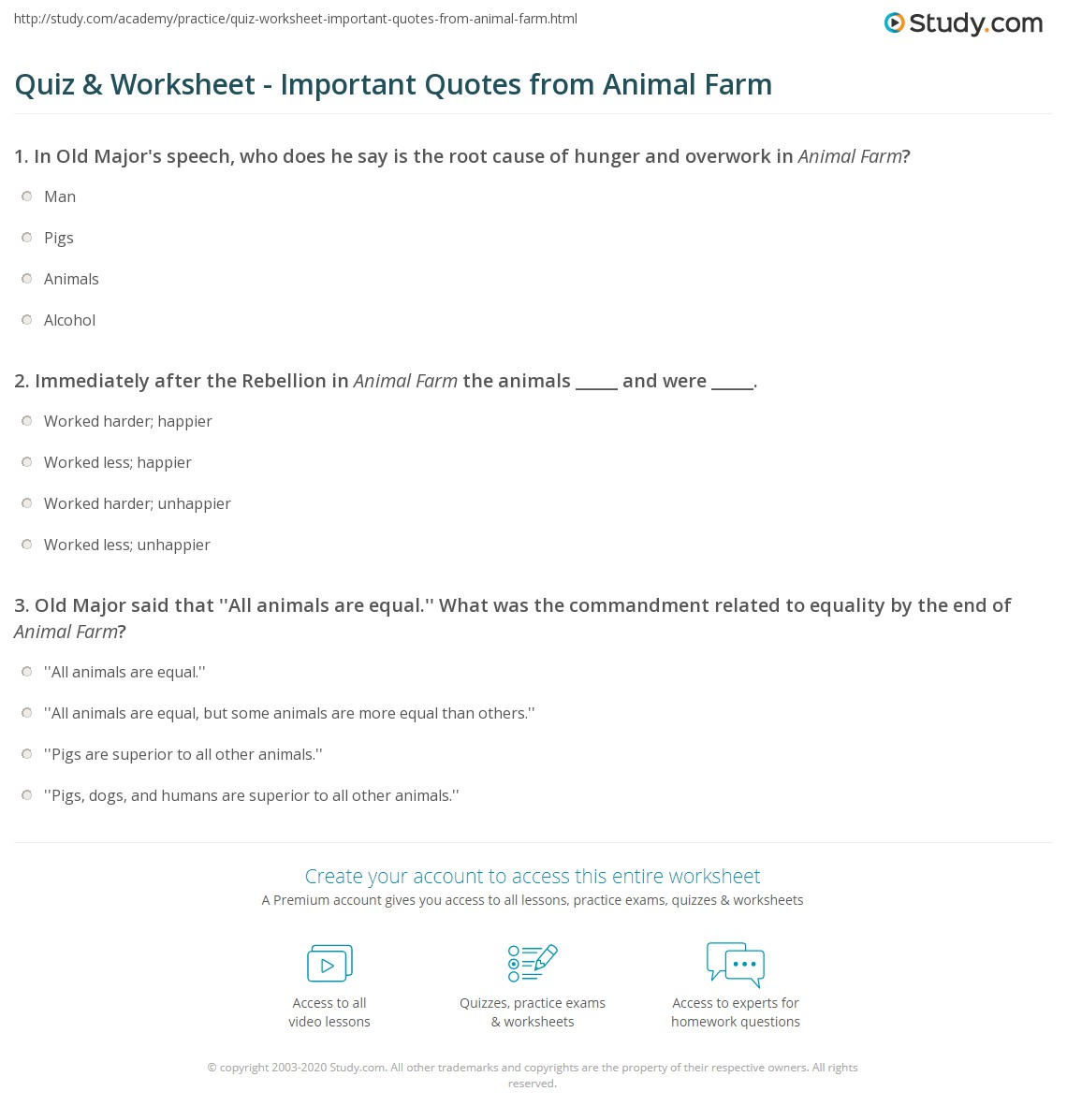 Animal Farm Quotes Quiz & Worksheet  Important Quotes From Animal Farm  Study