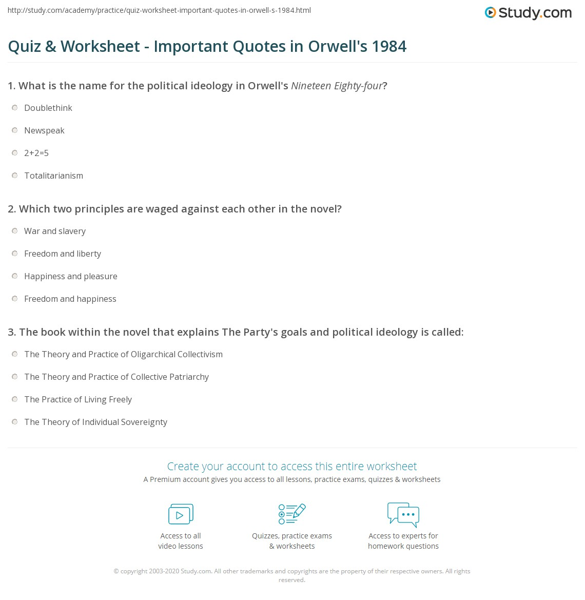 Print important quotes in 1984 worksheet