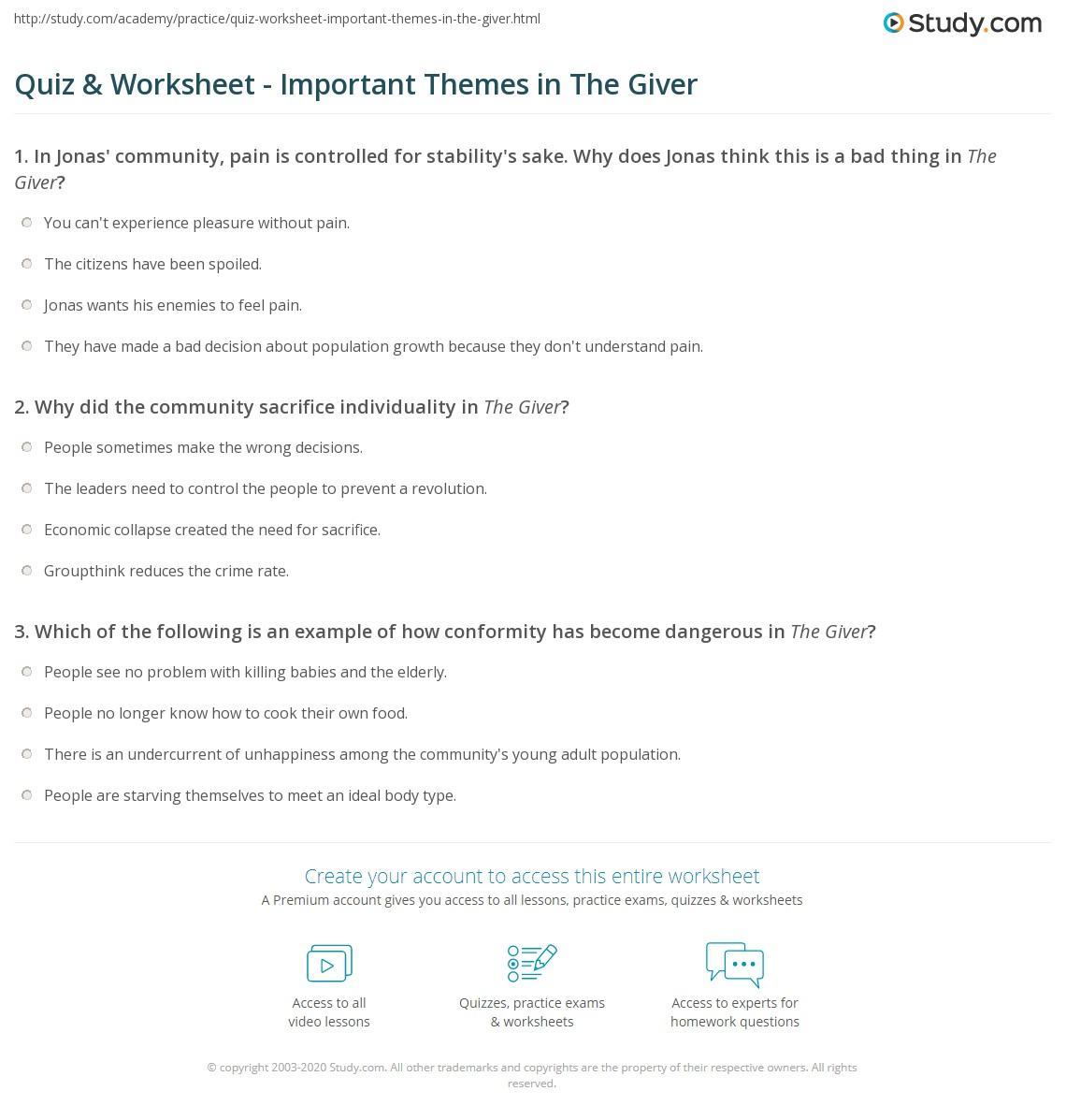 Quiz Amp Worksheet Important Themes In The Giver Study Com border=