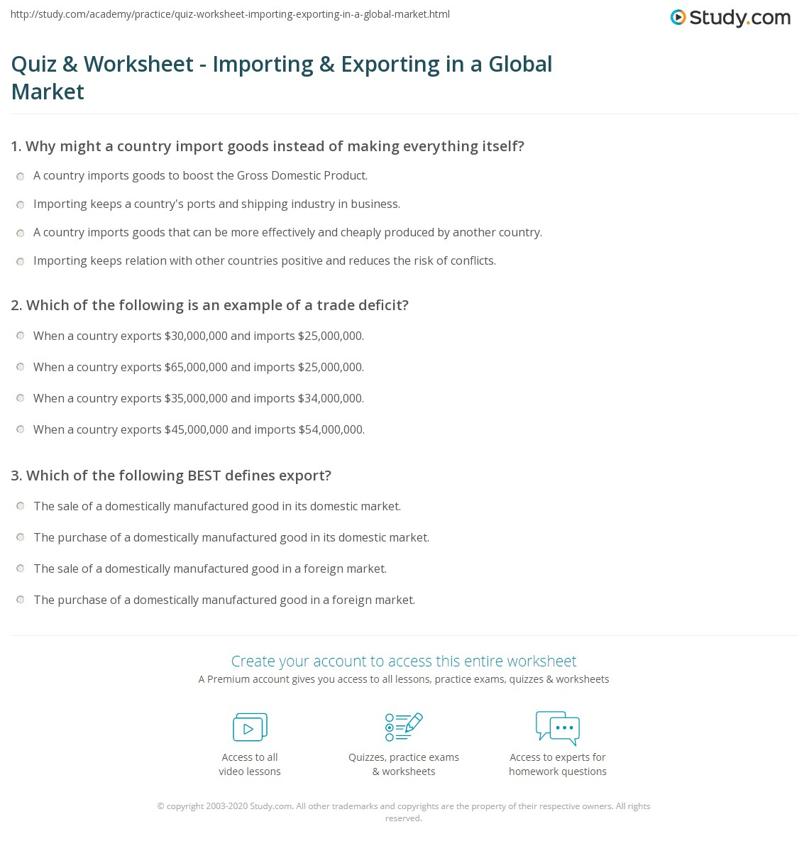 Quiz & Worksheet - Importing & Exporting in a Global Market