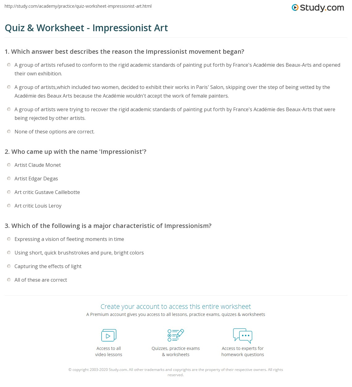 worksheet Art Worksheet quiz worksheet impressionist art study com print characteristics artists worksheet