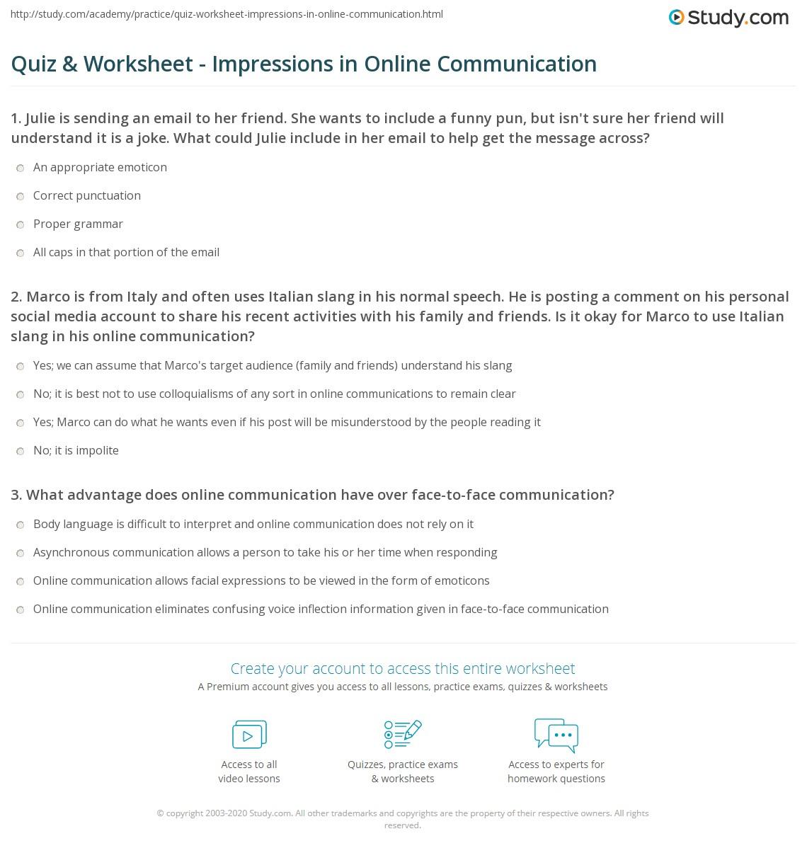 Quiz & Worksheet - Impressions in Online Communication